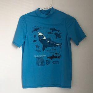 Boys Blue Shark Rashguard Swim Shirt
